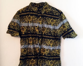 Baroque button-up short-sleeve shirt (S)/M