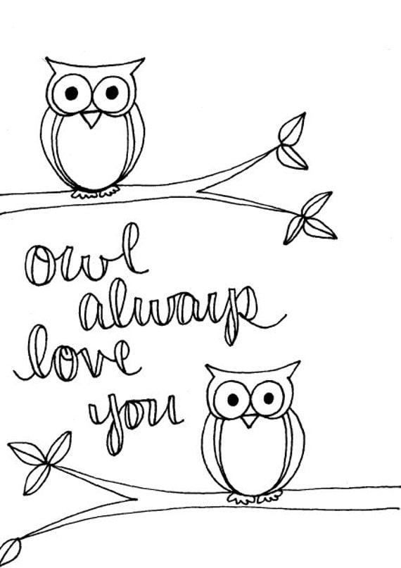 valentines day coloring pages owls - photo#34