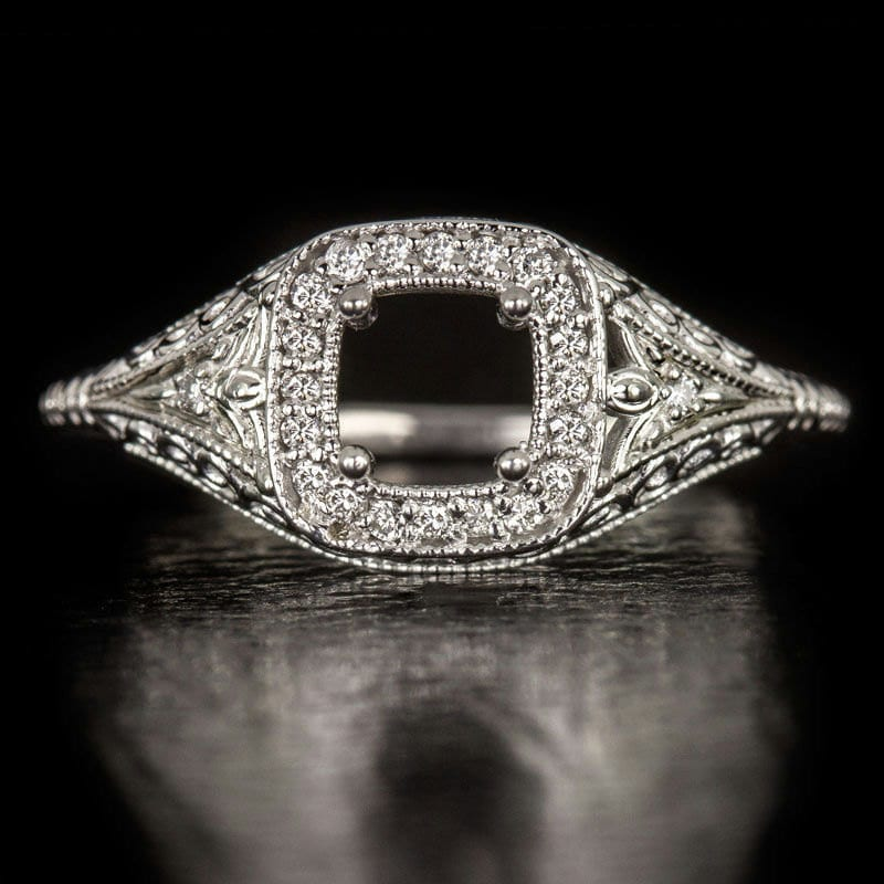 Antique Diamond Cocktail Ring Setting 14k White Gold Vintage