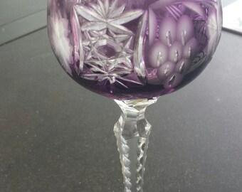 Hand cut crystal wine glass