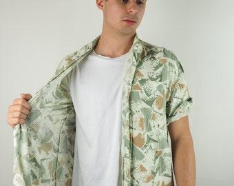 Mountain Inspired Printed Short Sleeve Cream Shirt