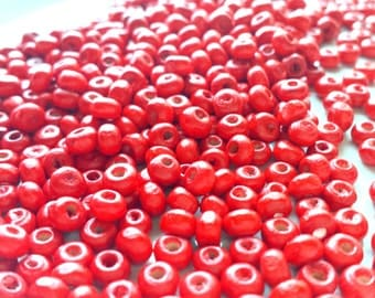 Red wooden pony beads x 50, Colorful beads, Wooden beads, Red beads, Pony beads, Tribal beads, Ethnic beads