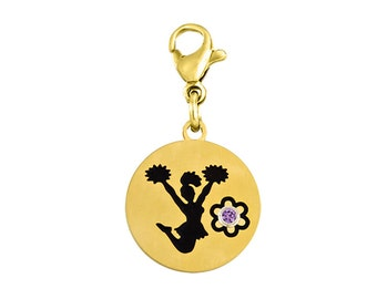 Cheerleader Disc Charm With Personalized Birthstone