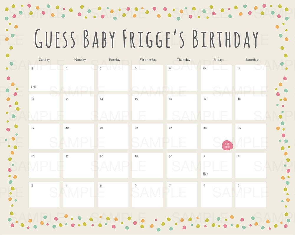 Baby Calendar May : Baby shower due date calendar