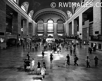 """Extra Large 60""""x40"""" New York City Grand Central Station Fine Art Photography Black and White Photo Wall Cling Print"""