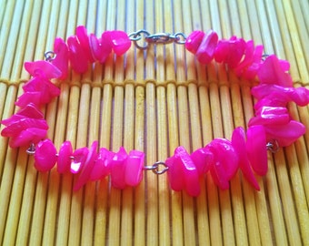 Hot Pink Puka Shell Bracelet