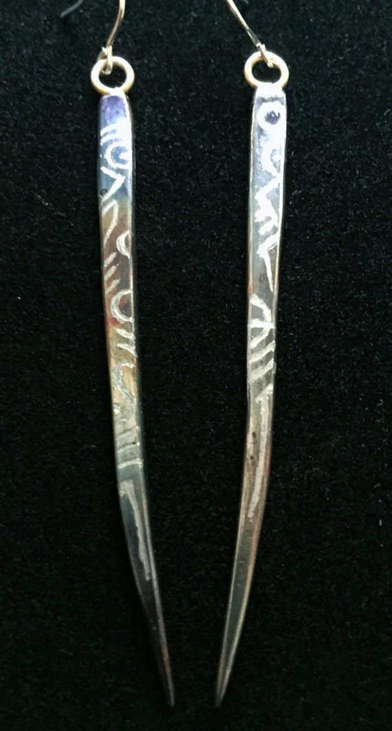 steel heat patina d earrings with sterling silver by