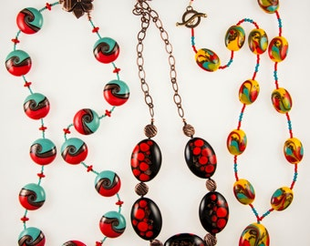 Necklaces of Czech Lamp-Worked Glass Beads