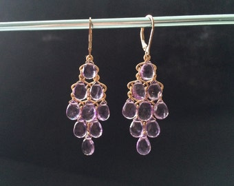 Gold Filled AAA Pink Amethyst Chandelier Earrings
