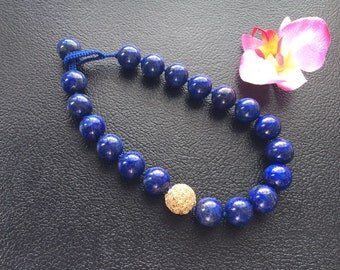 Chunky Lapis Lazuli Asymmetrical Design Beaded Necklace with Handmade Gold Filled Wire Bead