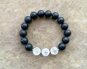 Unisex Om Mani Padme Hum 10MM Frosted Natural Obsidian & Quartz Amulet Bracelet with Hematite Rondelles