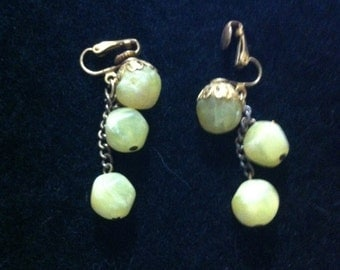Vintage, Clip-On Earrings Yellow