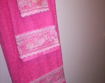 Hot Pink Bath Towel Set