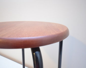 Wooden Stool with Metal Base