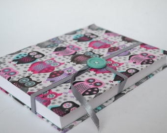Handmade notebook, sketchbook, diary, patterned with owls