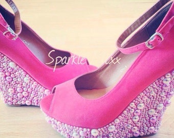 Adults Pink Wedges customised with pearls only available here! Bling unique