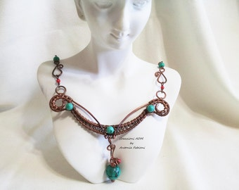 Copper necklace with natural bamboo coral and turquoise