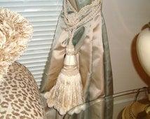 Vtg Shabby Silky GIANT fRENCH STYLE Ivory Tassel Tie Back With Fringe & Posh Pom Poms