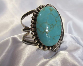 Brazalete-pulsera 925 sterling silver and natural turquoise stone