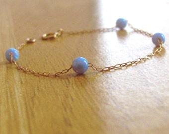 Blue opal bracelet, opal bracelet, opal bead bracelet, opal gold bracelet, opal jewelry, minimalist bracelet, ball bracelet, tiny bracelet