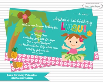 Luau Birthday Party Invitation, Luau Invite, Luau Invitation, Luau First Birthday, Luau First Birthday Party Invitation