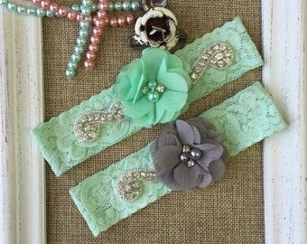 Wedding Garter Set , mint and grey wedding garter ,  lace wedding garter , wedding garter , bridal garter, toss garter
