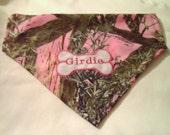 Dog bandana, Camo Pink, Monogram, Personalized,  Scarf, Over the Collar, Hunting bandana, dog lover gift, dog gift, summer gift, gift dog