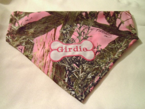 New Item, Camo Pink, Real Tree Personalized, Monogrammed, Camo Custom, Dog Bandana, Scarf, Over the Collar