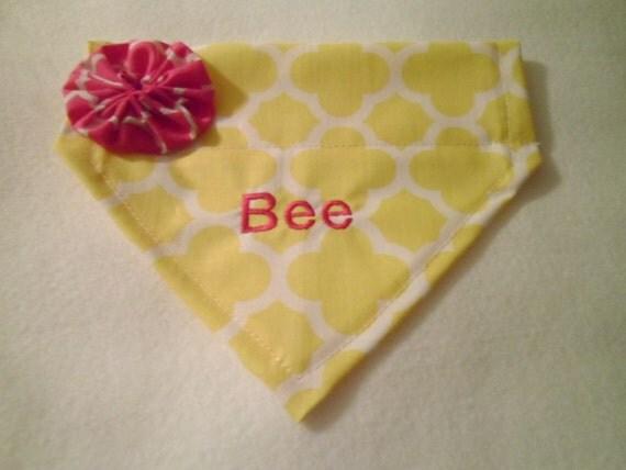 Personalized, Yellow, Dog Bandana, Monogram,   Embroidery,  Quatrefoil, Flower,  Over the Collar, Dog Bandana, Scarf
