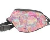Batik Purple Gingko Leaves - Cute Fanny Pack - Hip Waist Bag - 2 Zippers