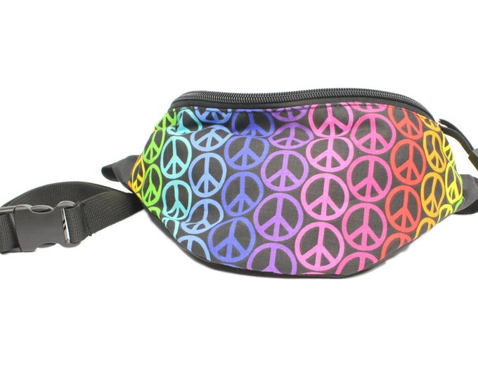 Fanny pack Peace Rainbow fabric - Cute  - Hip Waist Bag for travel, sport, and recreation with 2-zippered compartments