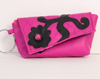 One of a kind handmade hot pink art nouveau inspired floral motif pleather clutch purse with hot pink bead