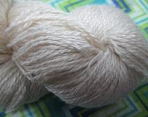 FINGERING  Silk Merino Sea Cell Undyed Yarn, 2 Ply Fingering  Weight Ecru Merino Seacell Silk Yarn Base, Undyed Sea Cell