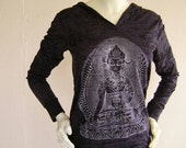 White Buddha on Black Burnout Hoodie. You are one of a kind, dress that way!