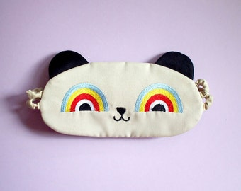 Sleep Eye Mask - Rainbow Eyes Critter (Cream/ Black)
