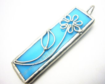 Little Spring Flower turquoise blue stained glass pendant id1330203 soldered handmade stainedglass jewelry jewellery