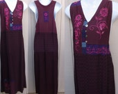 Vintage 90s Racerback Jumper Dress / Wine Red with Rasberry Pink Embroidered Midi Maxi GRUNGE Sundress