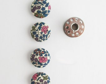 19mm Liberty of London Emilia's Flowers Fabric Covered Buttons | Small scale floral print shank back 3/4 inch buttons.