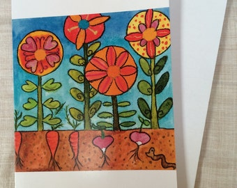 CARDS Garden card set of 6 recycled paper cards with envelopes worm carrot radish flowers by Fern House Studio NEW