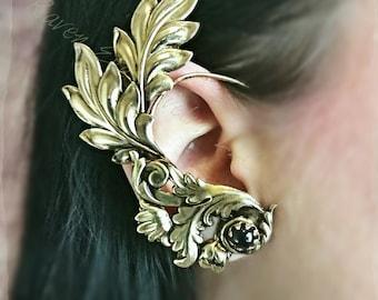 Minerva Vintage Brass Filigree Ear Cuff Ear Wrap with jet black stone no pierce