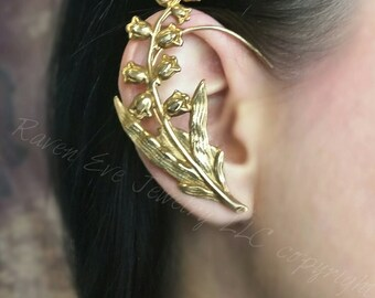 Liliy Of The Valley Ear Cuff Ear Wrap Made with vintage made in USA brass