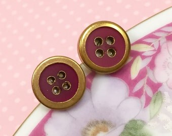 Vintage Button Studs, Brass Rimmed Brick Red Button Studs, Button Stud Earrings, Crafty Friend Gift Idea, Sewing Button Earrings