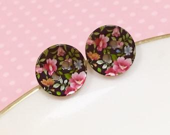 Small Flower Studs, Pink Flowers Black Studs, Flower Bouquet Mother of Pearl Earrings, Colorful Floral Stud Earrings, KreatedByKelly