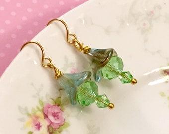 Czech Glass Earrings, Green Flower Earrings, Short Dangle Earrings, Green Glass Earrings, Affordable Jewelry, Handmade by KreatedByKelly