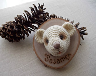 Crocheted Mounted and Stuffed Wool Teddy Head
