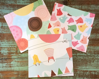 CD Paper Sleeves Set • Clothesline • 3 Handmade Disk Covers • Envelopes • Gift Wrap • Pockets • Printed Paper • DVD