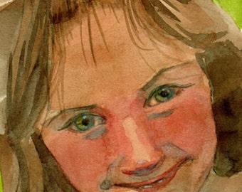 Original Watercolor Illustration Girl Portrait Children Hello Buttercup DelPesco
