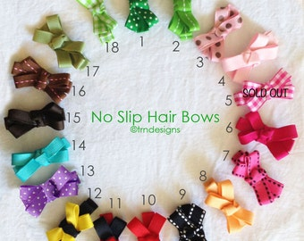 No Slip Hair Bows Set of 3 Small Clips Fine Ribbon Handmade Barrettes Custom