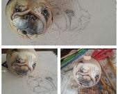 dog portrait. puppy portrait on wood ornament