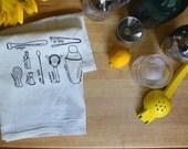 Cocktail Towel, Cocktail Tools Gift Towel, Kitchen Towel Hand Towel, Cocktail Diagram Towel, White Cotton Dish Towel, Bartender Hostess